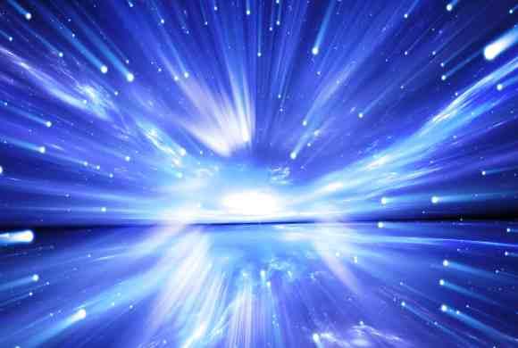 Des milliers de lumières blanches traversent le ciel bleu pour rejoindre la lumière centrale montrant le lien permanent entre la création et la Conscience éternelle, le Moi infini.