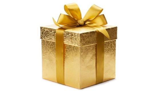 Ce cadeau doré représente le merci que l'on prononce du fond du coeur