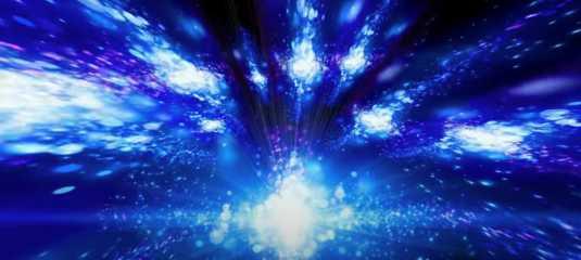 La Vibration lumineuse du Je Suis apparait en multiples lumières blanches dans un grand ciel bleu nuit.